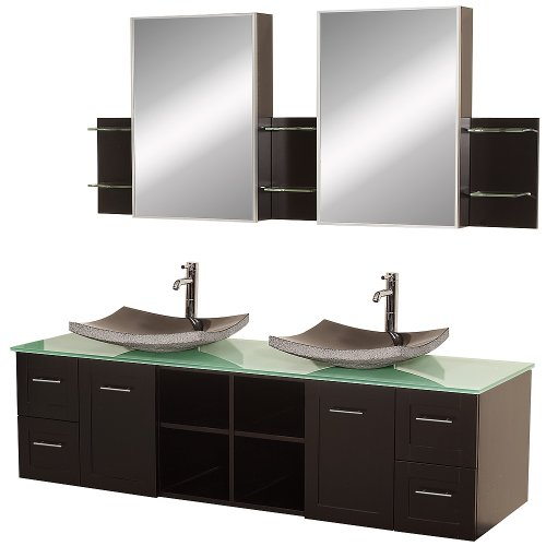 Bathroom Vanity Sink Combos Espresso Green Glass Top Black Granite Sinks
