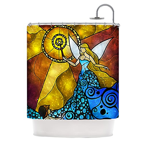 Kess InHouse Mandie Manzano Blue Fairy Aqua Yellow Shower Curtain