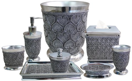 Silver Beaded Heart 8-Piece Bath Accessories Set