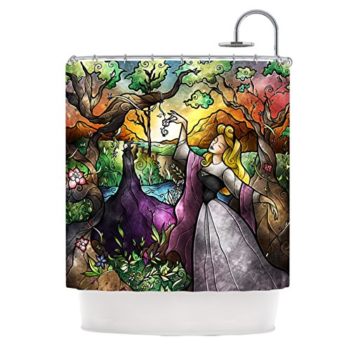 Kess InHouse Mandie Manzano Fairytale Forest Shower Curtain in Vibrant Colors