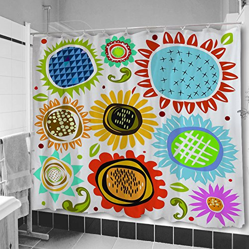 flower shower curtains in vibrant colors