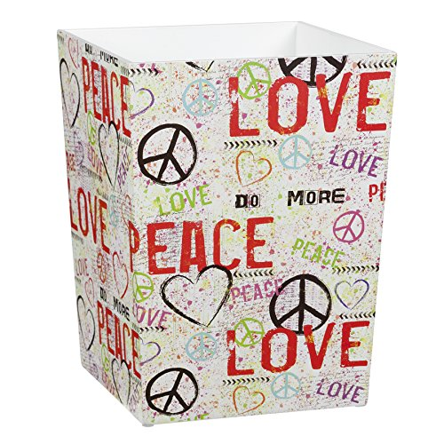 Peace and Love Graffiti Wood Waste Basket