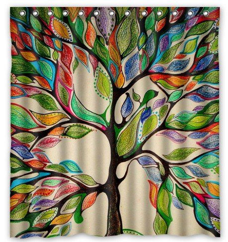 Tree of Life Gorgeous Leather-Like Bath Shower Curtain