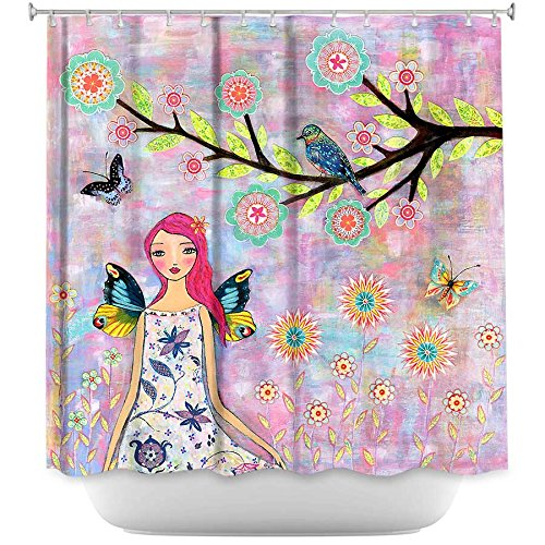 Artistic and Colorful Shower Curtain with Fairy and Butterflies