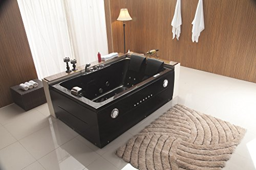 Fancy 2 Two Person Indoor Whirlpool Massage Hydrotherapy Black Bathtub