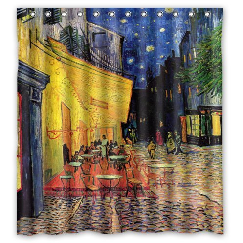 Van Gogh Cafe Terrace At Night Painting Shower Curtain