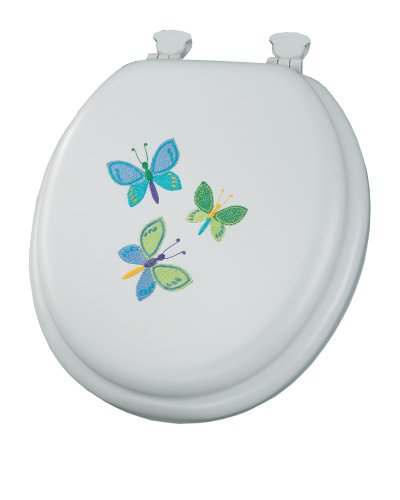 Embroidered Cushion Butterfly Toilet Seat with Lift-Off Hinges