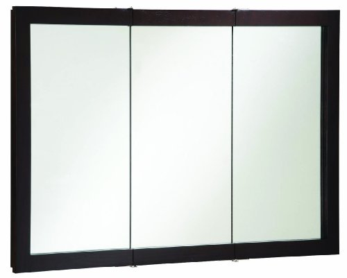 Cool Tri-View Medicine Cabinet with Solid Wood Black Mirror Frame