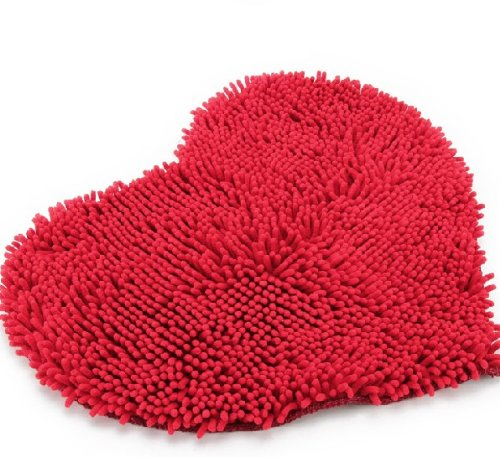 Cute Red Heart Shape Love Bathroom Rug for Teen Girls