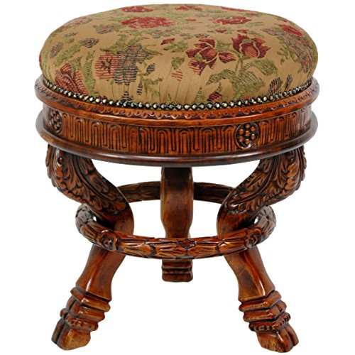 Oriental Furniture Queen Anne Round Tuffet Stool, Ochre Flowers
