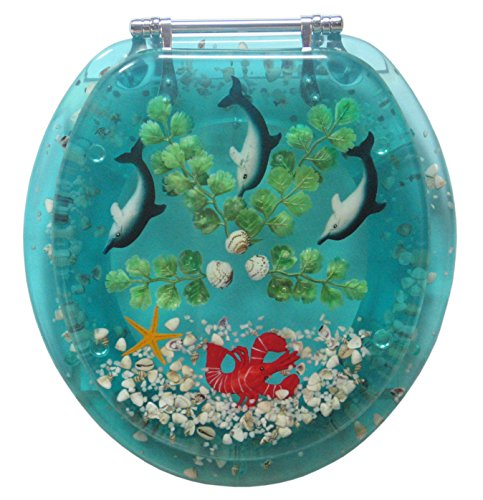 Polyresin Novelty Toilet Seat with Seashells and Lobster