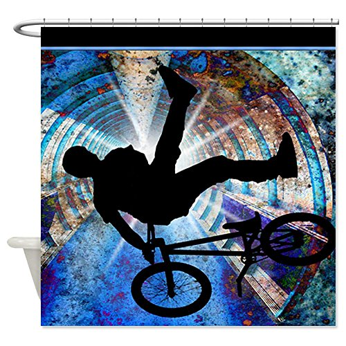 BMX in a Grunge Tunnel Shower Curtain for Teens