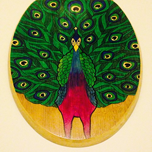 Hand painted peacock novelty toilet seat