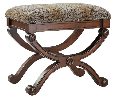 Stein World Accent Stool with Brown Brushed Spotted Patterned Fabric and Nail head Detailing