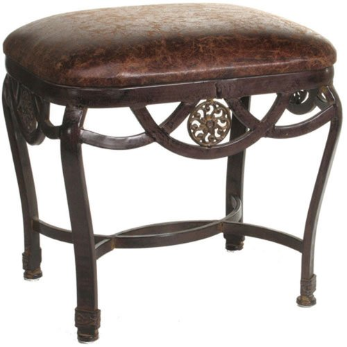 Elegant Brown leather Vanity Stool by Import Collection