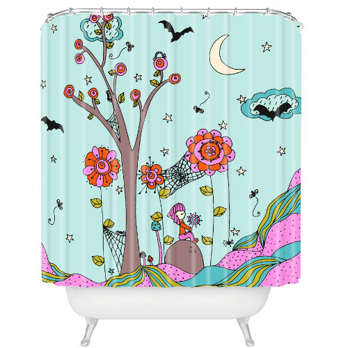 DENY Designs Rebekah Ginda Design Spiderwebs Bright Shower Curtain