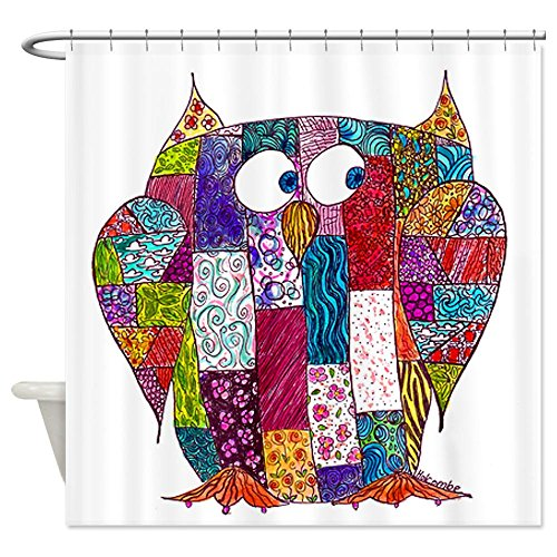 Artistic Colorful Quilted Owl Patchwork Design White Shower Curtain