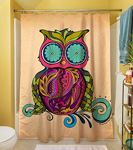 Psychedelic Owl on Swirly Branch Shower Curtain