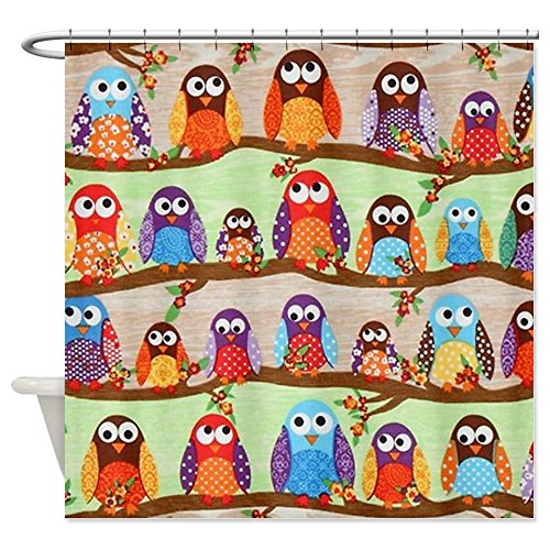 Colorful Funky Owls Shower Curtain
