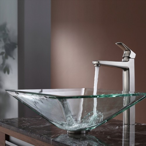 Clear Aquamarine Glass Bathroom Vessel Sink and Faucet