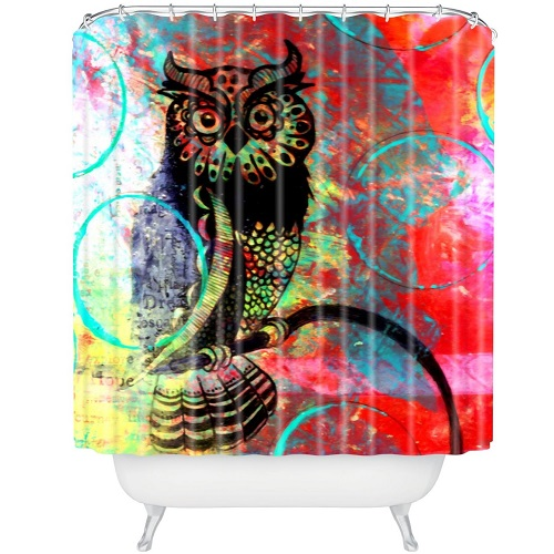 DENY Designs Sophia Buddenhagen Color Owl Shower Curtain