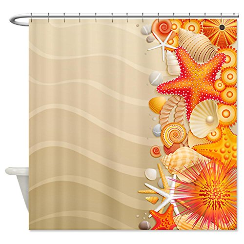 Orange Sea Shells Beach Shower Curtain