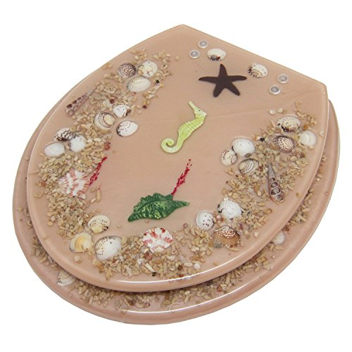 Fun SEASHELL AND SEAHORSE Acrylic Toilet Seat