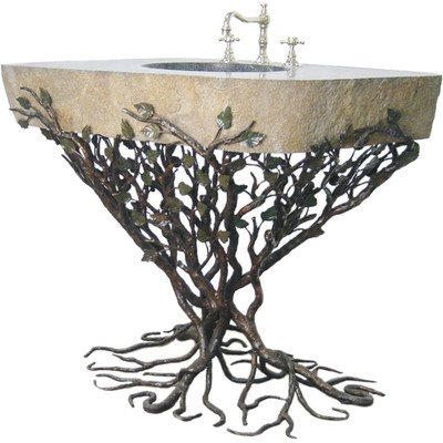 Organic Suites Embracious Aspen Forest Iron Pedestal Bathroom Sink