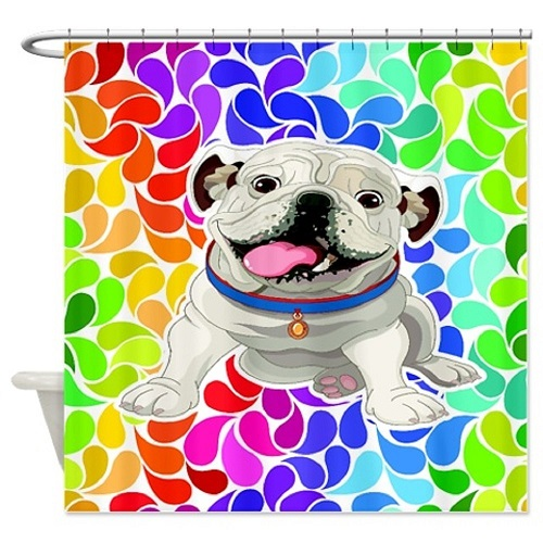 English Bulldog Rainbow Shower Curtain