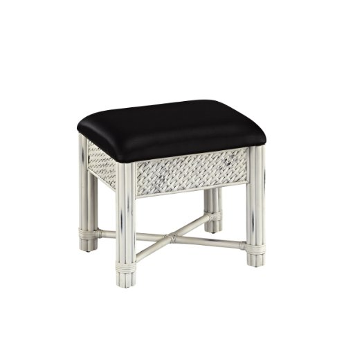 Beautiful White Rattan Vanity Bench