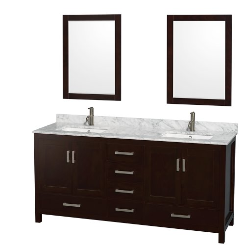 Double Bathroom Vanity in Espresso and White Carrera Marble Countertop