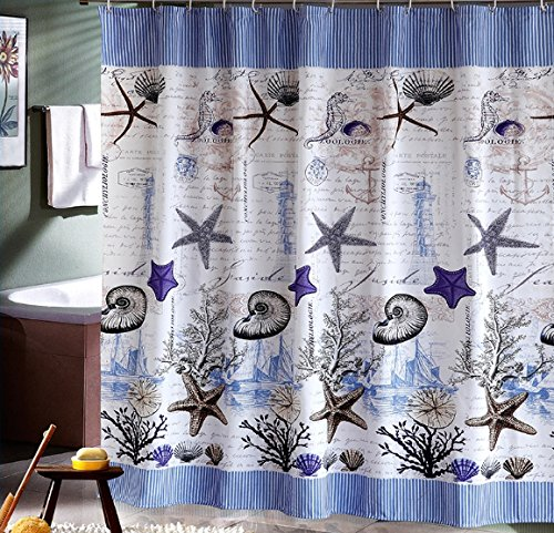 Eforcurtain Fish and Seashells Pattern Shower Curtain