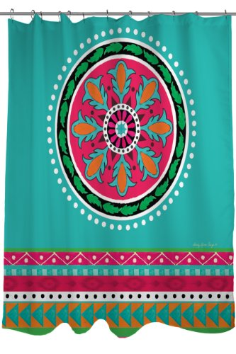 Thumbprintz Turquoise Medallion Stripe Fabric BoHo Shower Curtain