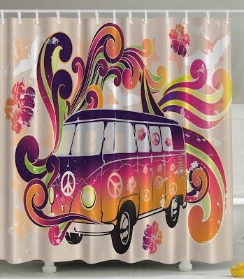 Peace Caravan Hippie Bohemian Peace Sign Paisley Shower Curtain
