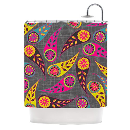 KESS InHouse Bohemian Pink Yellow Shower Curtain