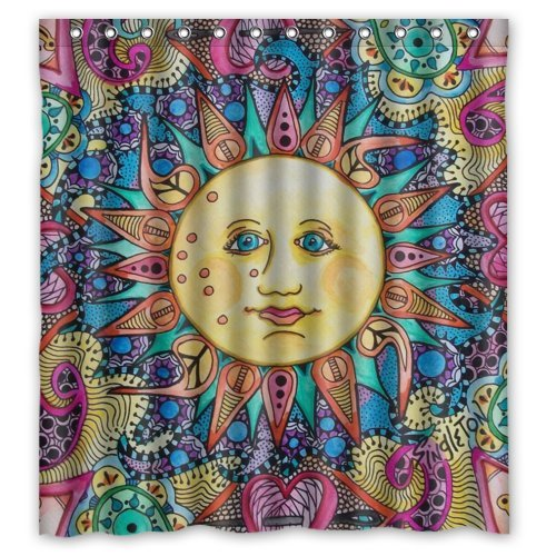Unique Bohemian Sun Design Waterproof Shower Curtain
