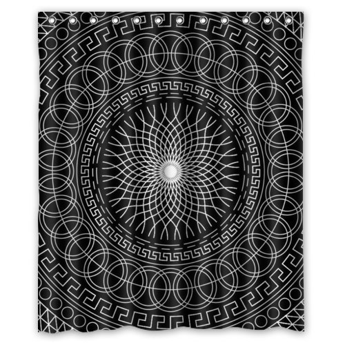Black Mandala Waterproof Shower Curtain