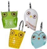 Owl Shower Curtain Hooks, decorative