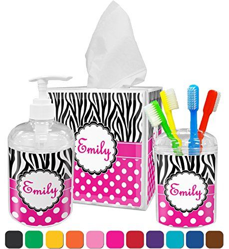 Zebra Print & Polka Dots Bathroom Accessories Set (Personalized)