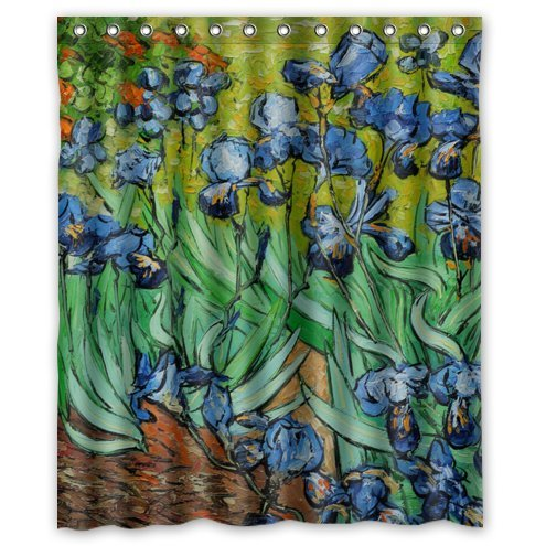 Irises by Vincent Van Gogh Waterproof Bathroom Fabric Shower Curtain