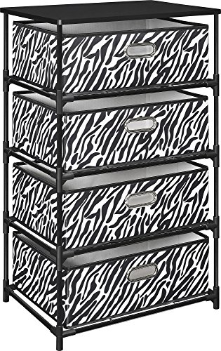 Altra Furniture 4-Bin Storage Table, Zebra Print