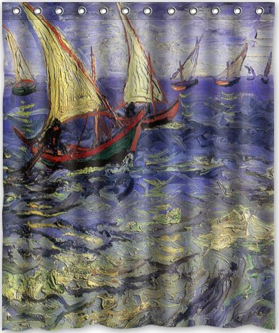 The Sea at Saintes by Van Gogh Bathroom Fabric Shower Curtain