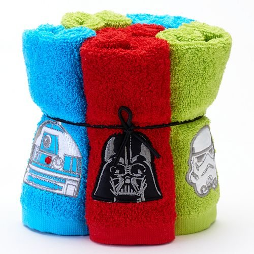 Six Piece Star Wars Soft Terry Cotton Bathroom Washcloths 6-set