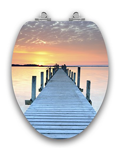 Pier on Sunset Image Elongated Toilet Seat