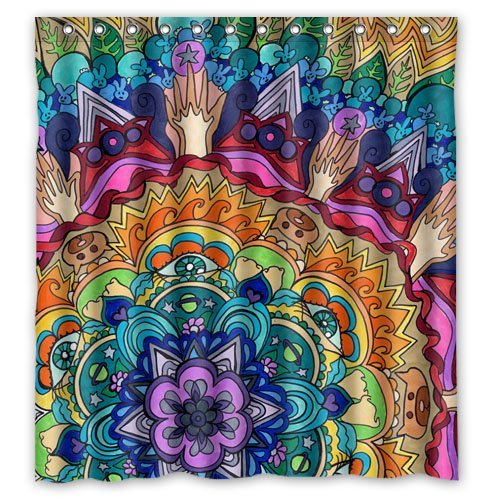 POOKOO Waterproof Polyester Mandala Bath Curtain