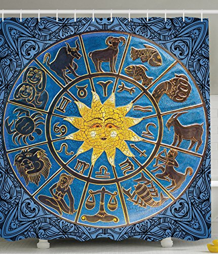 Zodiac Calendar and Sun Horoscopes Mandala Shower Curtain